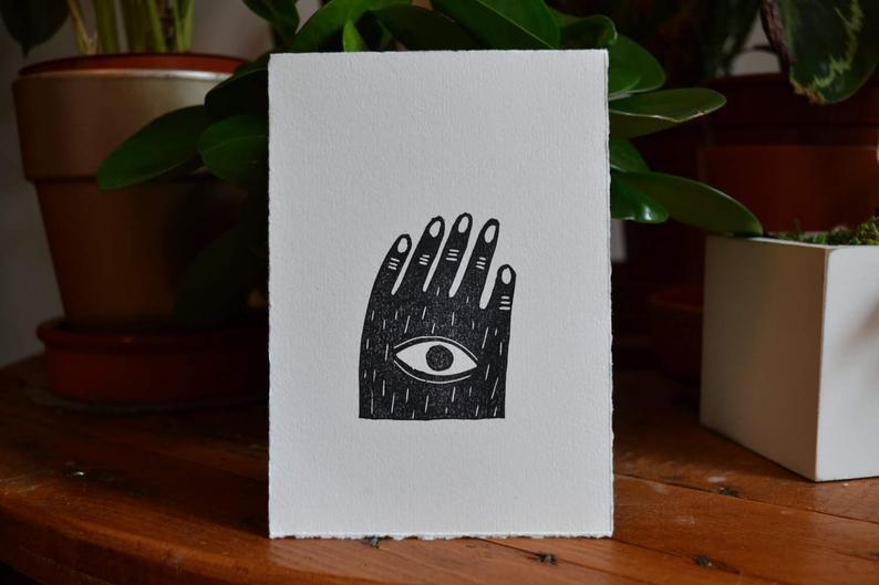 carte linogravure_oeil